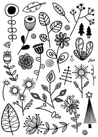 Set of floral elements, vector illustration.
