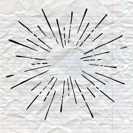 Il sole scoppia, la stella ha scoppiato il sole. Irradiando dal centro di raggi sottili, linee. Elemento di design per icona, segni. Stile dinamico Esplosione astratta, linee di movimento della velocità dal centro. Archivio Fotografico - 91704674