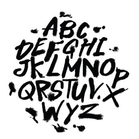 Hand getrokken Alfabetletters. Marker handgeschreven lettertype. Geïsoleerde letters, doodle lettertype illustratie. Stock Illustratie