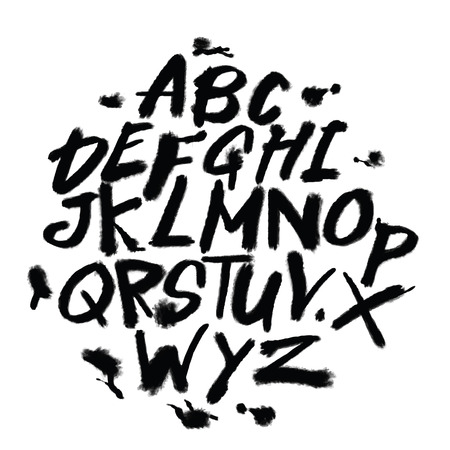 Hand drawn alphabet letters. Marker handwritten font. Isolated letters, doodle font illustration.