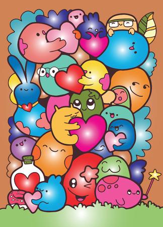 Illustratie van illustratie van het krabbel de leuke monster.