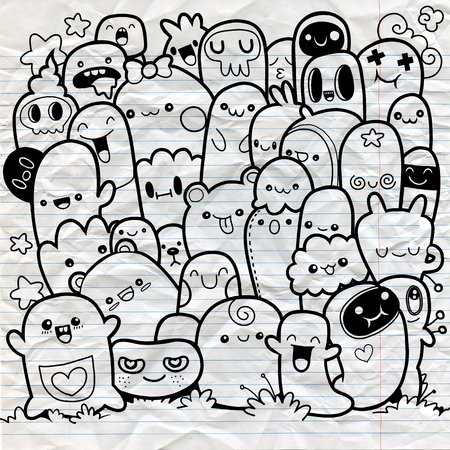 Funny monsters ,Cute Monster pattern for coloring book. Black and white background. Vector illustration,sketch on note paper.