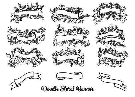 Collection of Hand Drawn Doodle Design Elements. Sketched Rustic Decorative Banners, Dividers, Ribbons with Floral Swirls and Branches. Vintage Outlined Vector Illustration. Stok Fotoğraf - 91944058
