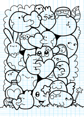 Funny monsters ,Cute Monster pattern for coloring book. Black and white background. Vector illustration,love concept Фото со стока - 91821867