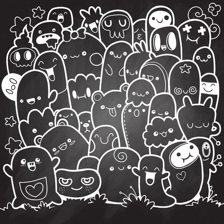 Vector illustratie van doodle schattige monster achtergrond, hand tekenen doodle, schets op schoolbord.