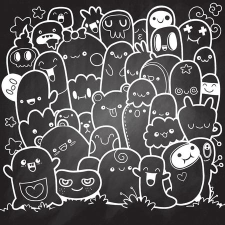 Vector illustration of doodle cute monster background, hand drawing doodle, sketch on chalk board.