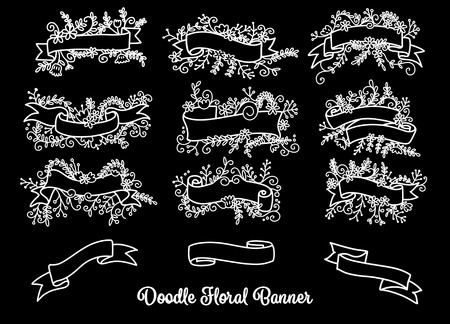 Collection of hand drawn doodle design elements. Sketched rustic decorative banners, dividers, ribbons with floral swirls and branches. Vintage outlined vector illustration.