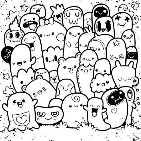 Funny monsters, cute monster pattern for coloring book. Black and white background. Vector illustration