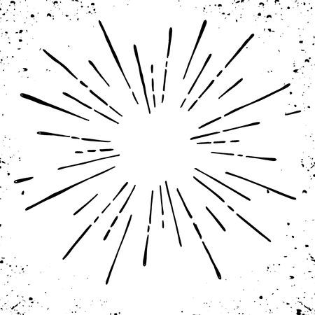 썬 버스트, 스타 버스트 햇살. 얇은 광선의 중심에서 방사, 선. 벡터 일러스트 레이 션. 로고, 디자인에 대 한 디자인 요소 동적 스타일 추상 폭발, 중간
