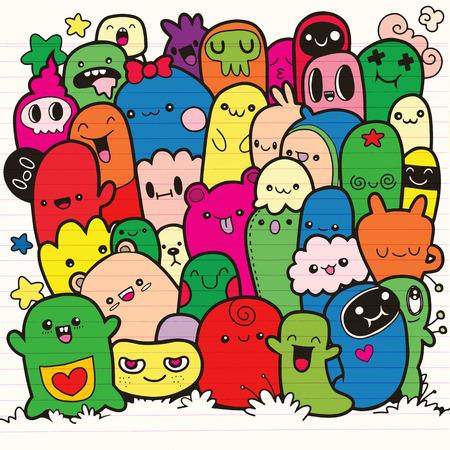 Vector illustration of doodle cute monster background, hand drawing doodle Illusztráció