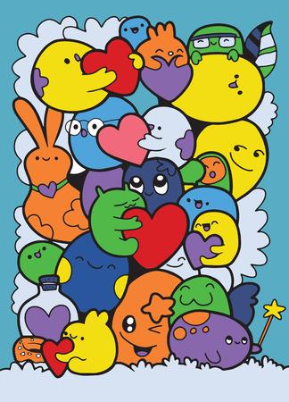 Cartoon-Monster-Auflistung. Vektorsatz Karikaturmonster lokalisiert. Entwerfen Sie für Druck, Parteidekoration, T-Shirt, Illustration, Logo, Emblem oder Aufkleber, Liebeskonzept Standard-Bild - 91833657