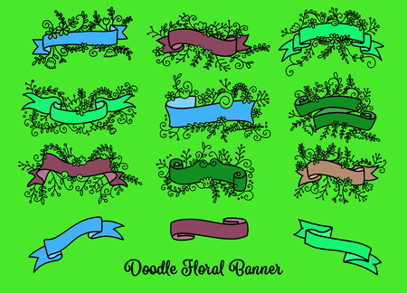 Collection of Hand Drawn Doodle Design Elements. Sketched Rustic Decorative Banners, Dividers, Ribbons with Floral Swirls and Branches. Vintage Outlined Vector Illustration. Illustration