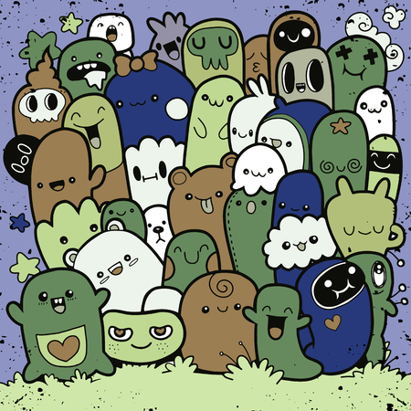 Vector illustration of Doodle cute Monster background ,Hand drawing Doodle Illustration