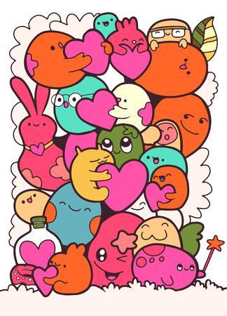 Cartoon-Monster-Auflistung. Vektorsatz Karikaturmonster lokalisiert. Entwerfen Sie für Druck, Parteidekoration, T-Shirt, Illustration, Logo, Emblem oder Aufkleber, Liebeskonzept Standard-Bild - 91821911
