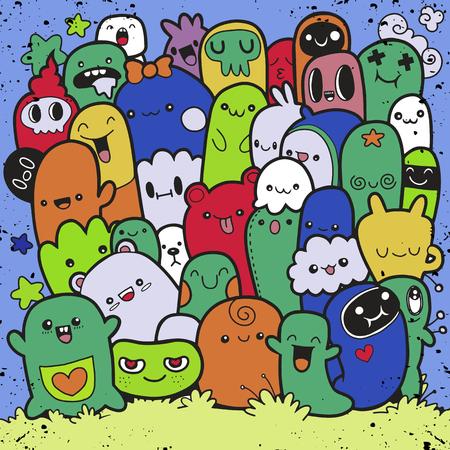 Vector Illustration des netten Monsterhintergrundes des Gekritzels, Handzeichnung Gekritzel Standard-Bild - 91821906
