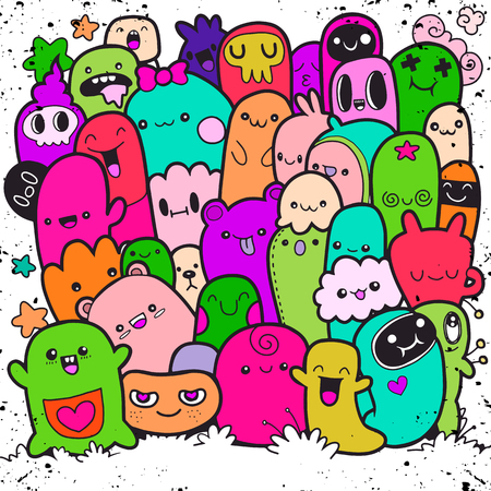 Vector illustration of Doodle cute Monster background ,Hand drawing Doodle Иллюстрация
