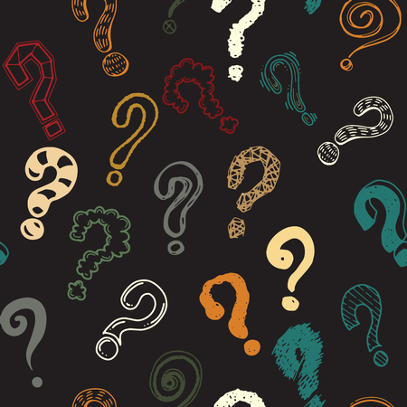Set of hand drawn question marks. Seamless background doodle.
