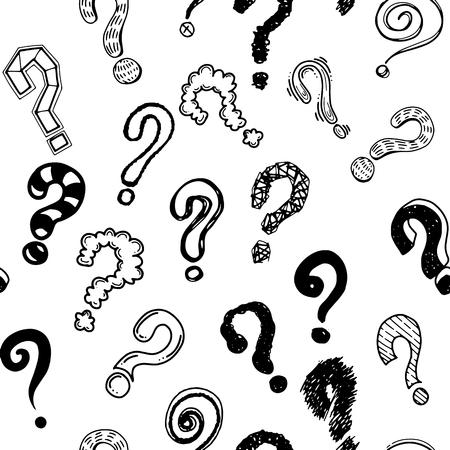 Conjunto de pontos de interrogação de mão desenhada. Ilustração do vetor doodle sem emenda do fundo Ilustração tirada mão do vetor.