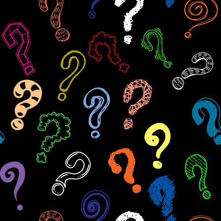 Set of hand drawn question marks. Vector illustration.seamless background doodle .Vector hand drawn illustration.