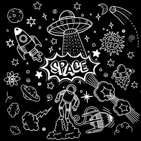 Space night sky texture ,Space objects. Vector flat space design background with text. Cute template with Astronaut, Spaceship, Rocket, Moon, Black Hole, Stars in Outer space, .Hipster typographic doodle lettering and elements for prints on t-shirts,cell phone, bags or poster.Vector illustration Illustration
