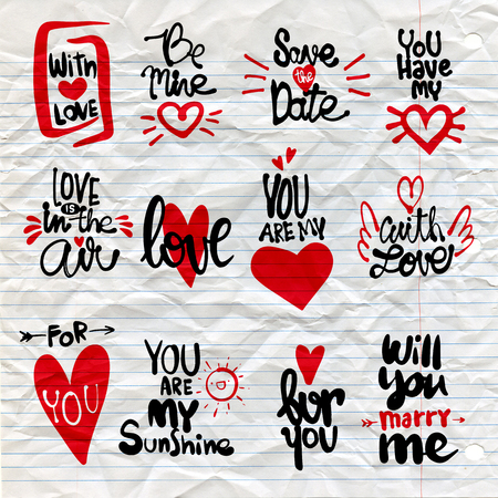 Set of Love hand drawn quotes in vector. Love messages. be mine.for you. save the date. love is in the air. with love.for you. will you marry me. with love