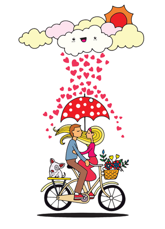Romantic concept. Couple in love under umbrella on bicycle. Cute cartoon vector illustration ,Cool vector flat illustration