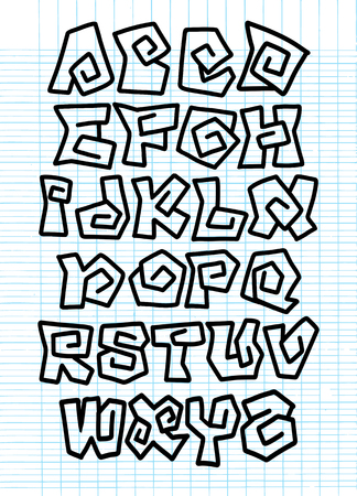 Hand Drawn Vector Illustration of Comic Alphabet. Graffiti Vector Font ,sketch on note paper