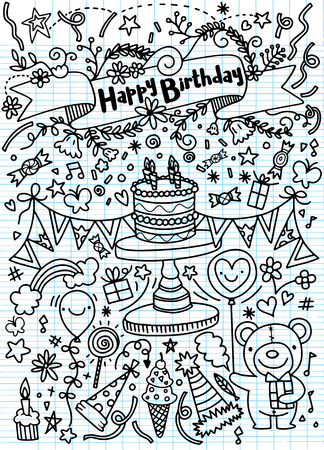 Birthday party doodles and love confession signs. Artistic collection of hand drawn birthday and wedding festive attributes & design elements: lettering, heart, cake, decoration. Isolated vector set.