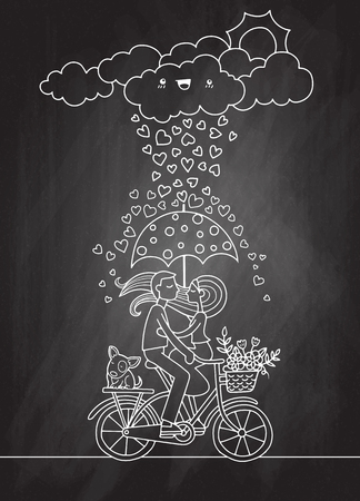 ロマンチックなコンセプト。自転車の傘の下で恋に落ちたカップル。かわいい漫画ベクトルイラスト、クールベクトルフラットイラスト  イラスト・ベクター素材