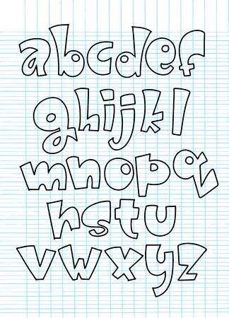 現代のコミカルなフォントとアルファベットのベクトル、背景漫画スタイル、アルファベット文字に隔離されたベクトル漫画セット。商用フォント