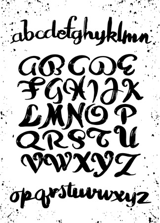 붓글씨 알파벳. 벡터 편지입니다. 손으로 그려진 서체. 글꼴 그림입니다. 손으로 그린 조판 일러스트