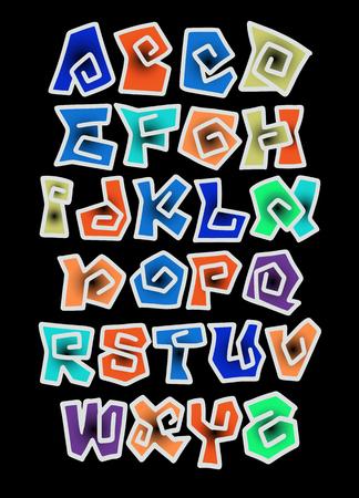 Vettore di carattere colorato stilizzato e alfabeto, illustrazione vettoriale disegnato a mano dell'alfabeto comico. Carattere vettoriale di graffiti. Archivio Fotografico - 92312935