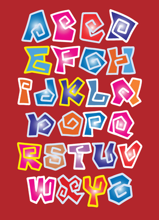 Vector of stylized colorful font and alphabet , Hand Drawn Vector Illustration of Comic Alphabet. Graffiti Vector Font.