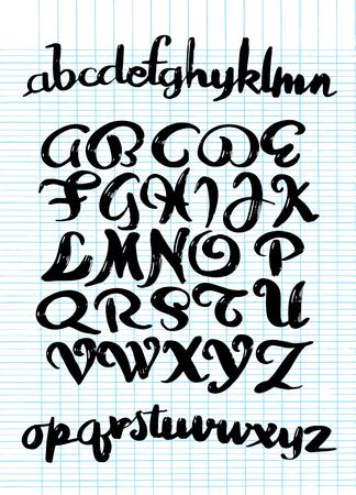 붓글씨 알파벳. 벡터 편지입니다. 손으로 그려진 서체. 글꼴 그림입니다. 손으로 그린 조판 스톡 콘텐츠 - 92313907