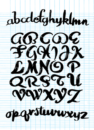 Calligraphic alphabet. Vector letters. Hand drawn typeface. Font illustration. Hand drawn typeset