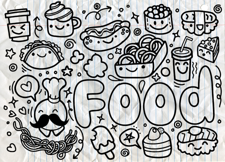 hand drawn Food doodles vector