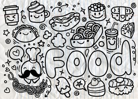 hand drawn Food doodles vector