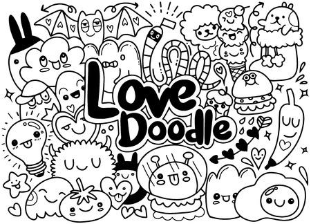Set of funny cute doodle monsters art illustration.
