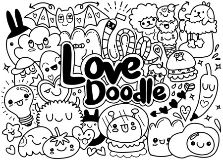 Set of funny cute doodle monsters art illustration.