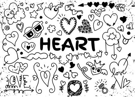 結婚式のグラフィックセット、矢印、ハート、月桂樹、花輪、リボン、翼、雲、花、手描きの文字やラベル。