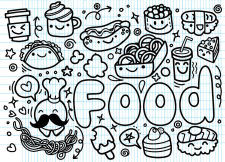 hand drawn Food doodle Illustration