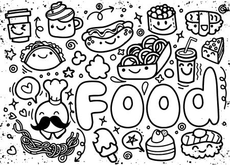 hand drawn Food doodle vector