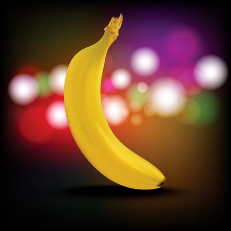 Banana. Ripe banana with shadow isolated on Abstract Light Bokeh Background, Realistic vector illustration. Çizim