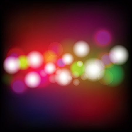 Abstract Night Light Bokeh Background, Blurred Lights on dark background with bokeh effect and sparks. Vector Illustration