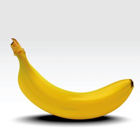 Banana. Banana madura com sombra isolada no fundo branco. Ilustração vetorial realista Foto de archivo - 93300426