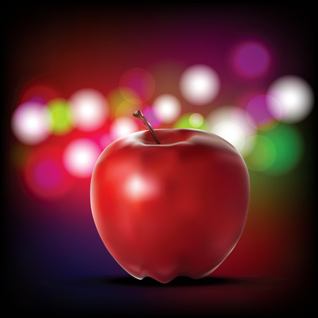 Vector illustration of detailed big shiny red apple on Abstract Light Bokeh Background, Realistic vector illustration.