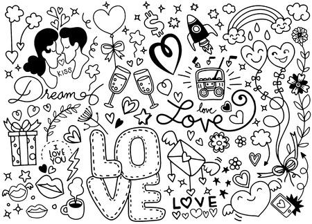Love Doodle, Hand drawn heart and words love doodle ,vector illustration Ilustração