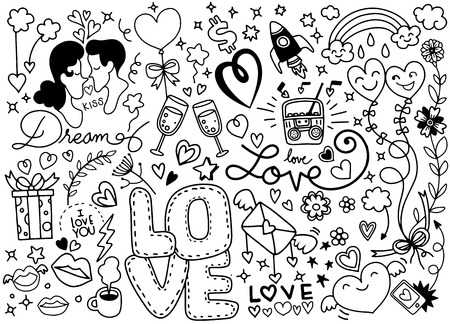 Love Doodle, Hand drawn heart and words love doodle ,vector illustration Illustration
