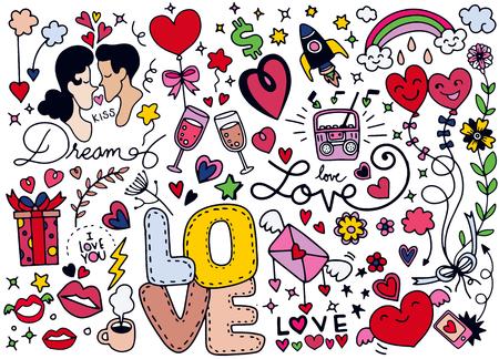 Ami lo scarabocchio, il cuore disegnato a mano e le parole amano lo scarabocchio, illustrazione di vettore Archivio Fotografico - 93300420