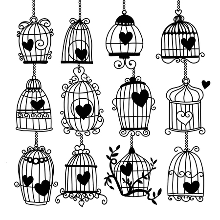 Vector illustration of doodle, Valentine background with heart in retro bird cage